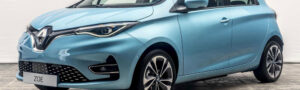 renault zoe electric car in blue